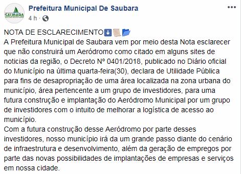 Prefeitura de Saubara - Nota de Esclarecimento